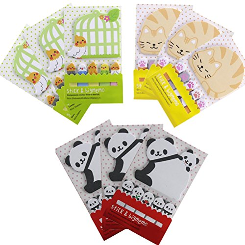 Jiabetterniu 9 Pack 180 Sheets Cute Animal Panda Pattern Sticky Pads Pattern Bookmark Marker Memo Flag Messages Notes Lovely Kawaii Planner Paper Memo Sticker (180 Animals)