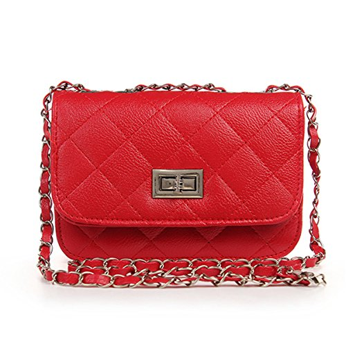 Mini Crossbody Bag, OURBAG PU Leather Quilted Cross Body Shoulder Clutch Purse Evening Handbag with Chain (Red Quilted Purse)