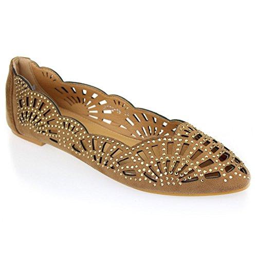 Aarz señoras de las mujeres de la tarde ocasional Comfort plana Diamante de la bomba de la bailarina tamaño de los zapatos (Negro, Marrón) Marrón