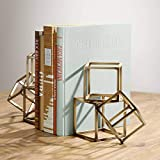 """Universal Lighting and Decor Tricube Antique Brass Finish 7 1/2"""" High Geometric Bookends"""