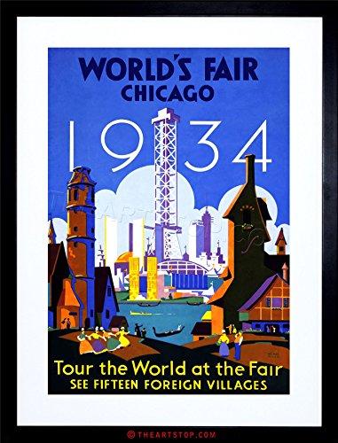VINTAGE AD WORLD FAIR CHICAGO 1934 ILLINOIS USA FRAMED PRINT (Chicago Worlds Fair Framed Art)