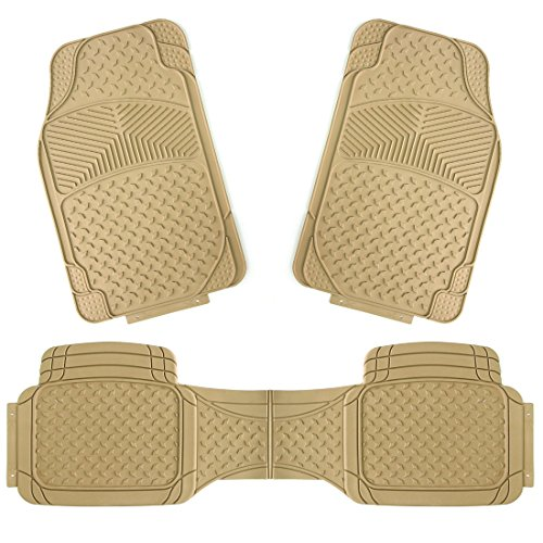 Beige Rear Mat - Copap 3pcs Rubber Floor Mats Universal Fit Mat Car SUV Van & Trucks Front & Rear (Beige)