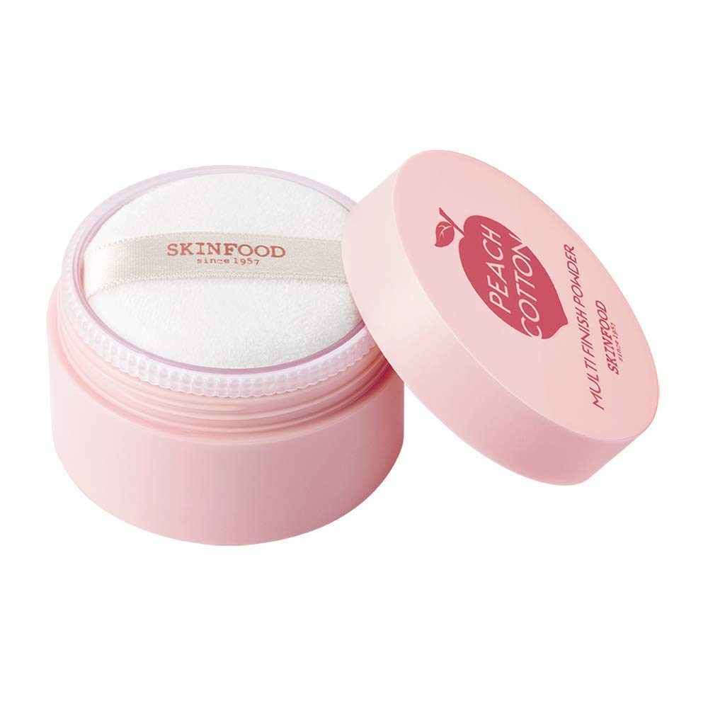 SKINFOOD Peach Cotton Multi Finish Powder 15g - Peach Extract & Calamin Powder Contained Sebum Control Silky Powder for Oily Skin, Sweet Peach Scent with Baby Skin