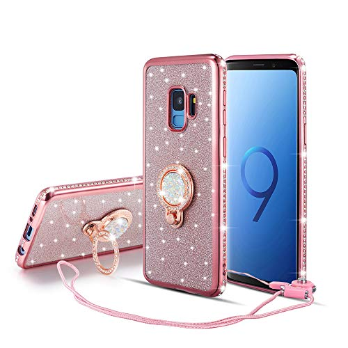 (UEEBAI Case for Samsung Galaxy S7 Edge, Glitter Soft TPU Case with Shining Diamond 360 Degree Rotatable Ring Kickstand Ultra Slim Shockproof with Lanyard for Samsung Galaxy S7 Edge - Rose Gold)