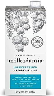 Milkadamia Unsweetened Macadamia Milk (32 oz., 6 Count) - Keto, Dairy Free, Vegan, Sugar Free