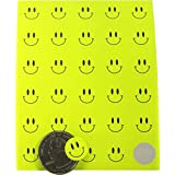 Fluorescent Yellow Smiley Face Dot Circle Stickers 1/2 Inch Round Labels 10 Sheets of 30 Stickers 300 Total