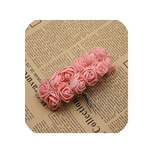 Small Basketball 12 pcs Mini Foam Rose Artificial Flowers for Home Wedding Car Decoration Pompom Wreath Decorative Bridal Flower Fake Flower,Pink