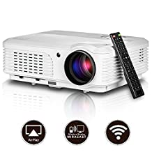 Wireless Projector- Support 1080P 720P Full HD WiFi Airplay Miracast- Portable LCD LED Home Theater Cinema Video Game- HDMI USB Built-in Speaker Keystone