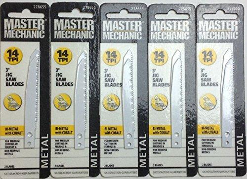 "10 Master Mechanic Jig Saw Blades, 3"", 14 TPI, Metal 278655"