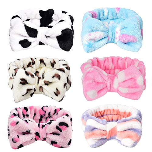 HUIANER Cute Bow Headbands Coral Fleece Elastic Bowknot Hair Band For Women Washing Face Makeup Cosmetic Spa Yoga Sports Shower, Pack of 6(Multiple Styles) -