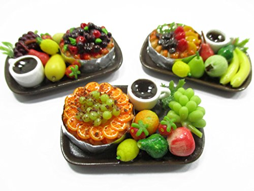 Dollhouse Miniatures Food 1:12 Fruit Cake Coffee Fruit 3 Ceramic Plates 13945