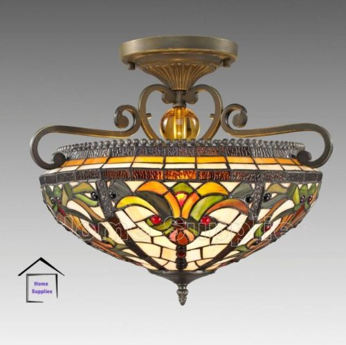 Real stained glass tiffany semi flush ceiling light amazon real stained glass tiffany semi flush ceiling light mozeypictures Gallery