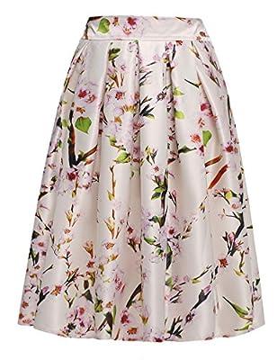 ACEVOG Women's Floral Print Skater Midi Skirt With Pleat A-Line Flared Skirt Dress