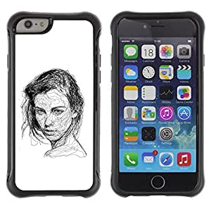 Be-Star Unique Pattern Anti-Skid Hybrid Impact Shockproof Case Cover For Apple iPhone 6(4.7 inches) ( Girl Black White Pen Sketch Art Drawing ) Kimberly Kurzendoerfer