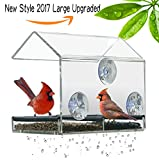 Image of In Window Wild Bird Feeder Squirrel Proof Bird house For Outside Nijer Hummingbird feeder Station Bird seed feeders Mount on Glass(Clear Large Removable Tray 3 Strong Suction Cups Git box)-NEWCREA