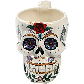 White Day of the Dead Red Rose Sugar Skull Drink Coffee Mug Cup Ceramic