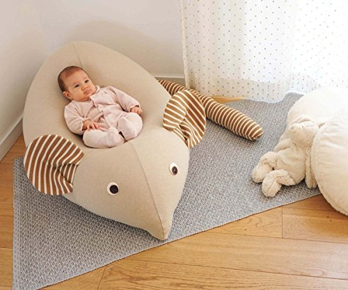 Huge Mouse Beanbag pillow - Handmade baby lounger - floor pillow - kids pouf - Mocha by Pockets Baby & kids