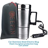 GEEPIN Car Stainless Steel Electric Mug, Applicable to the Boiling Water, Coffee, Milk, Boiled Eggs and Tea.