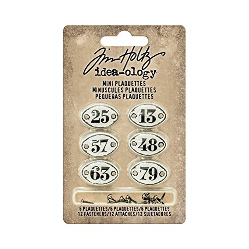 Metal Tags Embellishments - Tim Holtz Idea-ology Mini Plaquettes, Small Metal Numbered Plates 6-Pack, 1/2 x 3/4 Inch Each, White with Black Numbers (TH93296)