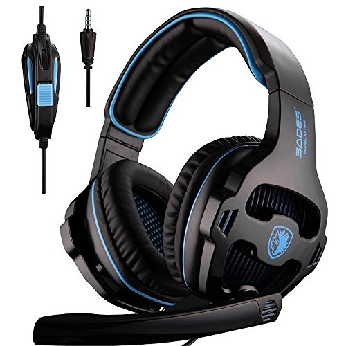 Cheap Sades Over-ear Stereo Gaming Headsets Headphones with Microphone for Plastation4/New Xbox One/ PC Computers/Mac/Tablets/Phones (Black)
