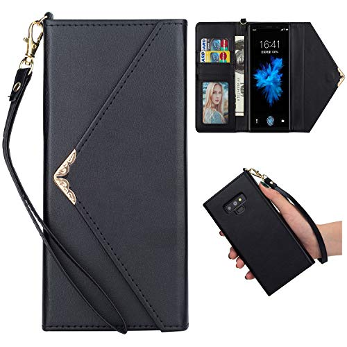 Shinyzone Stylish Envelope Design Case for Samsung Galaxy Note 9,Premium Leather Wallet Case with Credit Card Holder & Wrist Strap Handbag Magnetic Flip Cover,Black by Shinyzone