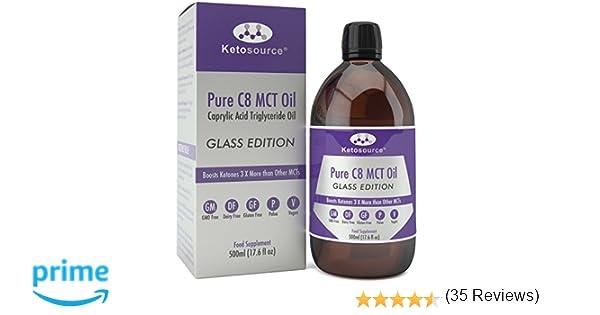C8 MCT Aceite Puro | Produce 3 X Más Cetonas Que Otros MCT Aceites | Triglicéridos de Acido Caprílico | Paleo y Vegano Amistoso | Botella Sin BPA ...