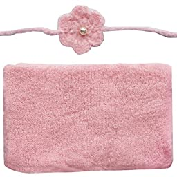 FEESHOW Newborn Baby Photography Prop Wrap Cloth Knit Blanket with Flower Headdress Pink