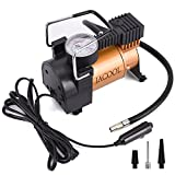 JACOOL Portable Mini Tire Inflator Pump 12V DC Car Air Compressor with Pressure Gauge,Small Compressor Tanks with 3 Foot Hose 3 Universal Nozzle Adapters for Automobiles, 150PSI 130W (Gold)
