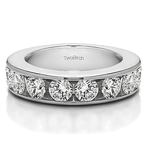 0.1Ct 10 Stone Open Ended Channel Set Wedding ring 18k White Gold White Sapphire(Size 3 to 15 1/4 Sizes) (Ct Set Channel 0.1)