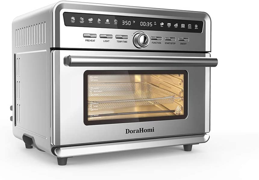 DORAHOMI 26qt Air Fryer Oven, 10 in 1 Multi-function 360° Air Convection Toaster Oven with 12 Hours Timer, LED Display Temperature Control Glass Window 4 Layer Shelves Stainless Steel Housing