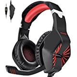 PECHAM Gaming Headset for PS4,Xbox one,Noise Cancelling Ear Headphones with Mic, Stereo Surround Sound and Easy Volue Control,3.5MM Jack for laptop PC Mac Nintendo Switch and Smart Phones(Red)