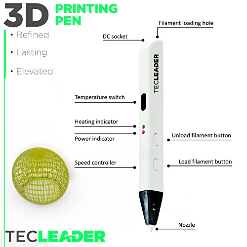 TECLEADER | 3D Printing Pen for Kids & Adults | Perfect Educational Toy for 3D Modeling, Printing and Doodling | Free Stencil EBook, 3 ABS Filaments & User Manual | Best Birthday Gift | Slim Design by TECLEADER (Image #2)