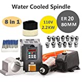 MYSWEETY 1Set DIY 110V 2200W Water Cooled Spindle Motor CNC Spindle Motor 80MM 2.2KW + 13pcs ER20 Collet + 80MM Clamp + Converter + 5M Water Pipe + 110v Water Pump+ 70mm Brush + Drill Bits