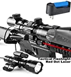 Crossbow Gun with Scope - Wenxy Tactical Rifle Red Dot Laser with Cree XML T6 1200 Lumen Flashlight Tactical Scope Mount + Remote Pressure Switch + Battery for Hunting Gun Air Rifle