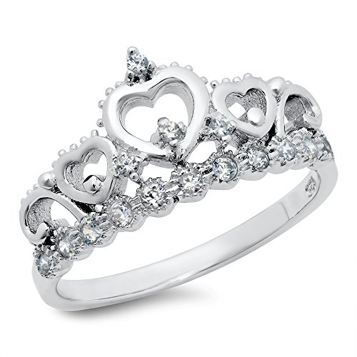 Sz 7 Sterling Silver Cubic Zirconia Princess Heart Crown Tiara CZ Band Ring