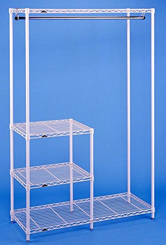 White Clothes Drying & Garment Rack w Inset Shelves