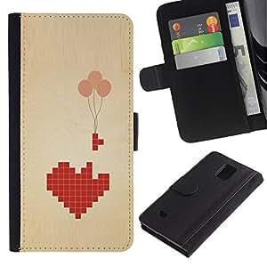 LASTONE PHONE CASE / Lujo Billetera de Cuero Caso del tirón Titular de la tarjeta Flip Carcasa Funda para Samsung Galaxy Note 4 SM-N910 / Heart Balloons Deep Meaning Games Love