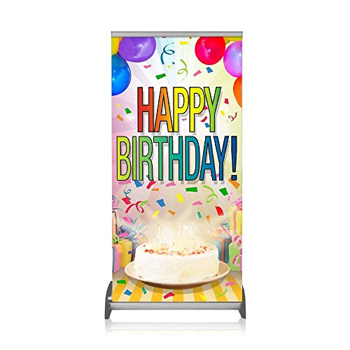 Step and Repeat LA Happy Birthday Retractable Stand With Vinyl Print,Tabletop Display, Easy to transport and set up,Made in the USA.