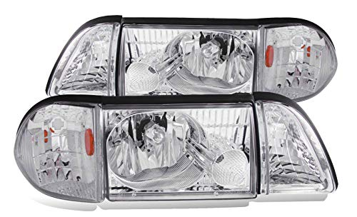 SPPC Chrome Crystal Headlights Assembly Set with Corner and Parking Light For Ford Mustang - (Pair) Driver Left and Passenger Right Side Replacement Headlamp