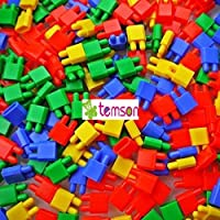 TEMSON Multicolored Creative Interlocking Bullet Head Building Blocks Educational and Learning Intelligence Plastic Bullet Pipe Style Blocks and Bricks for Kids (321 E)