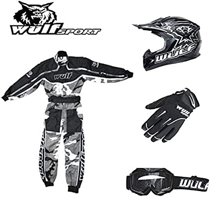Wulf Wulfsport Kids Flite Motocross Helmet Black XL Kids Race Suit M 53-54cm 7-8Yrs + Cub Abstract Goggles Attack Gloves XS 7cm