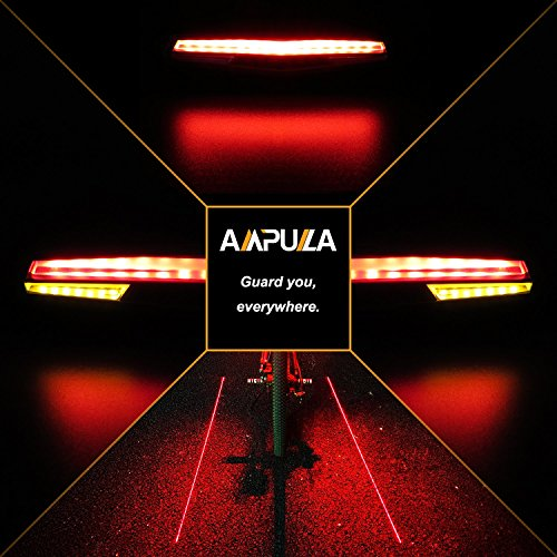 Ampulla Rechargeable Bike Tail Light LED - Remote Control, Turning Lights, Ground Lane Alert, Waterproof, Easy Installation for Cycling Safety Warning Light by Ampulla (Image #1)