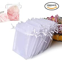 """100PCS Premium Sheer Organza Bags, White Wedding Favor Bags with Drawstring, 4x4.72"""" Jewelry Gift Bags for Party, Jewelry, Festival, Bathroom Soaps, Makeup Organza Favor Bags"""