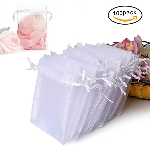 Hopttreely 100PCS Premium Sheer Organza Bags, White Wedding Favor Bags with Drawstring, 4×4.72 Jewelry Gift Bags for Party, Jewelry, Festival, Bathroom Soaps, Makeup Organza Favor Bags