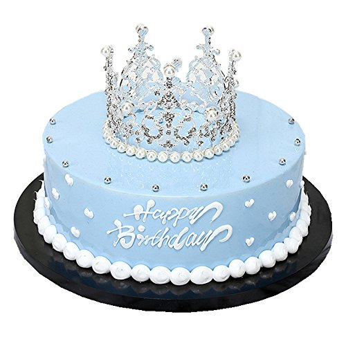 Rhinestone Crown Tiara Wedding Pageant Prom Queen King Cake Topper Decoration (#Circle A (Dia: 4.7