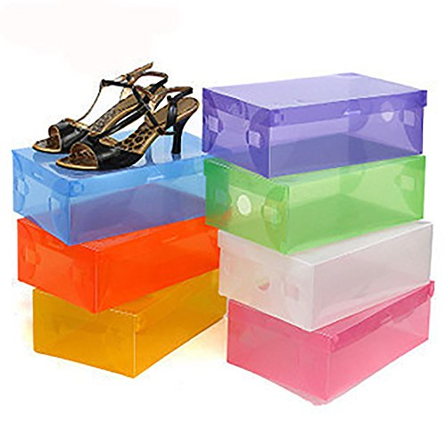 5 x Transparent Clear Plastic Shoe Storage Organiser Foldable Boxes