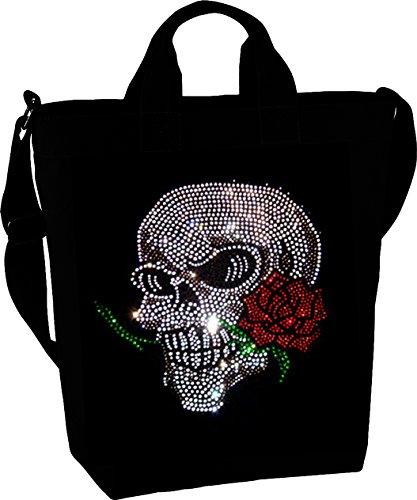Damen Handtasche wunderschönes Strassmotiv Totenkopf mit Rose Umhängetasche schwarz mit Strass