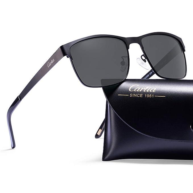 Carfia Gafas de Sol Polarizadas Hombre para Conducción Viaje y Aire Libre-Marco Metal (