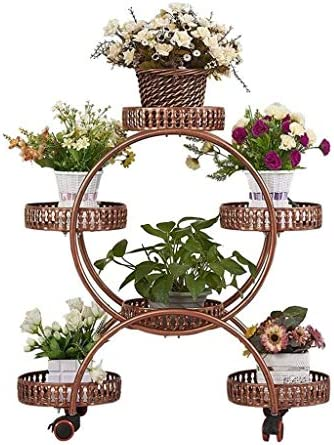 LINlq ブレーキホイール、リビングルームマルチレイヤ花で、欧州の鉄プラントのディスプレイスタンドラック31.5 * 19.7 * 11.0in (Color : Brown)