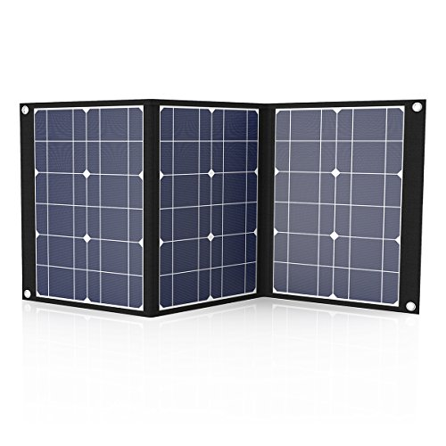 Tishi Hery 50 Watts 12 Volts Portable Solar Charger Foldable Monocrystalline Solar Panel Charger with MC4 Connector & Dual-port(USB 5V + DC 18V) for Camping, Hiking, Solar Generator, RV, Boat